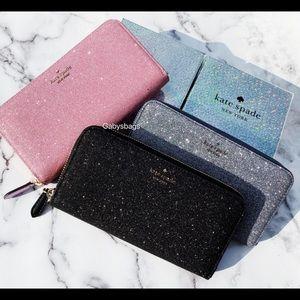 Kate Spade Large zip around wallet glitter